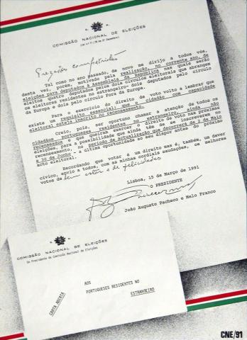 Cartaz - Recenseamento e Eleição da Assembleia da República - AR/1991